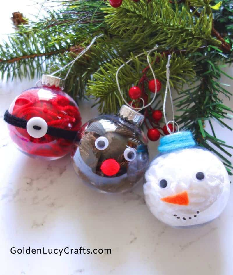 DIY clear ball Christmas ornaments idea, yarn-filled ornaments, Snowman, Santa, Reindeer, handmade Christmas, easy