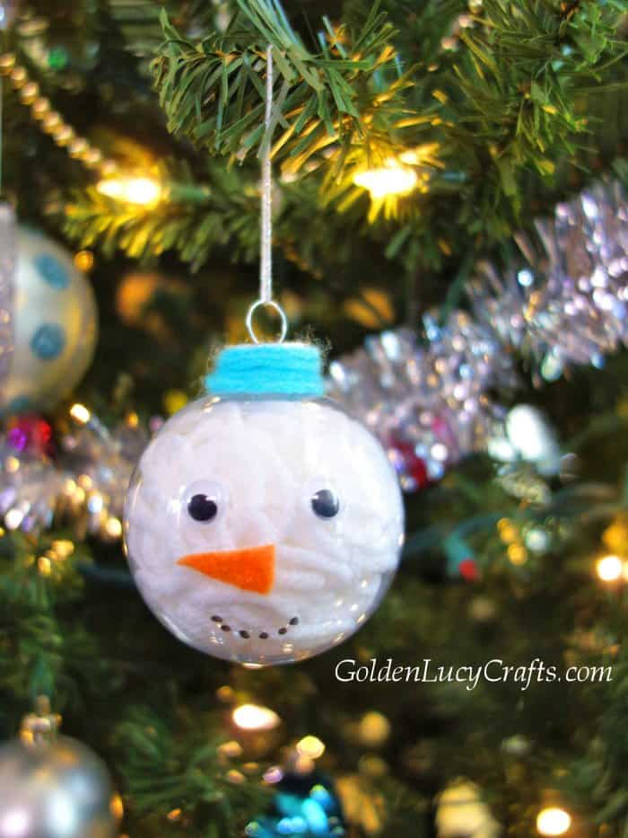 DIY clear ball Christmas ornaments idea, yarn-filled ornaments, Snowman, handmade Christmas