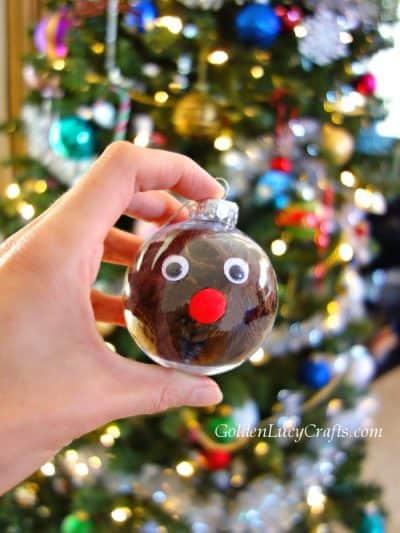 DIY clear ball Christmas ornaments idea, yarn-filled ornaments, for kids, easy, Reindeer, handmade Christmas