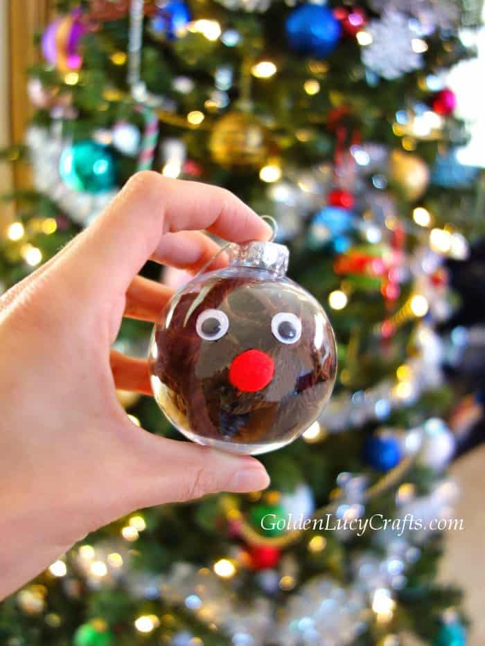 DIY clear ball Christmas ornaments idea, yarn-filled ornaments, for kids, easy, Reindeer, handmade Christmas