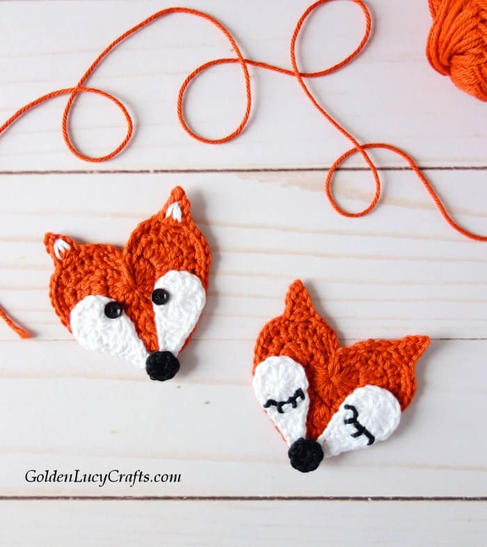 Crochet fox applique, free crochet pattern, heart shaped fox