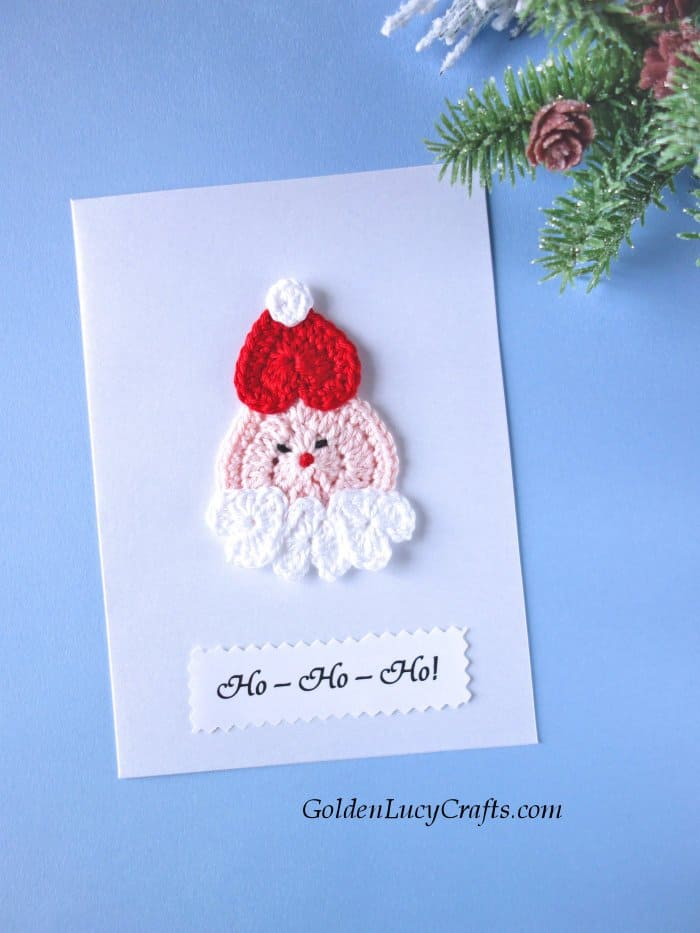 Handmade Christmas card, embellished with crochet applique, Santa card