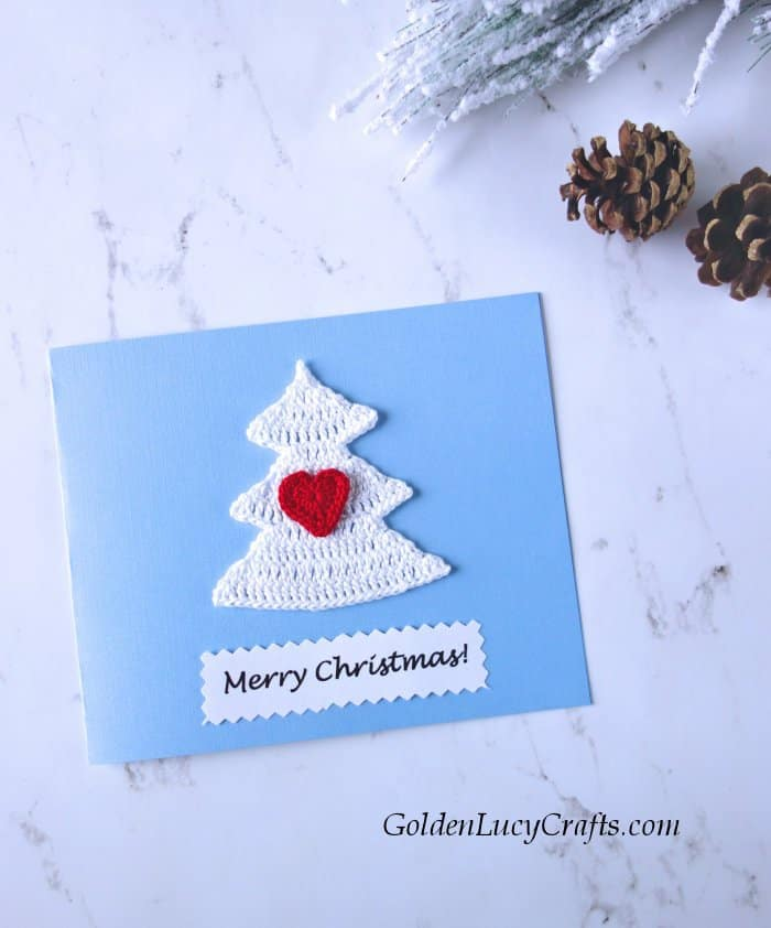 Handmade Christmas card, embellished with crochet appliques