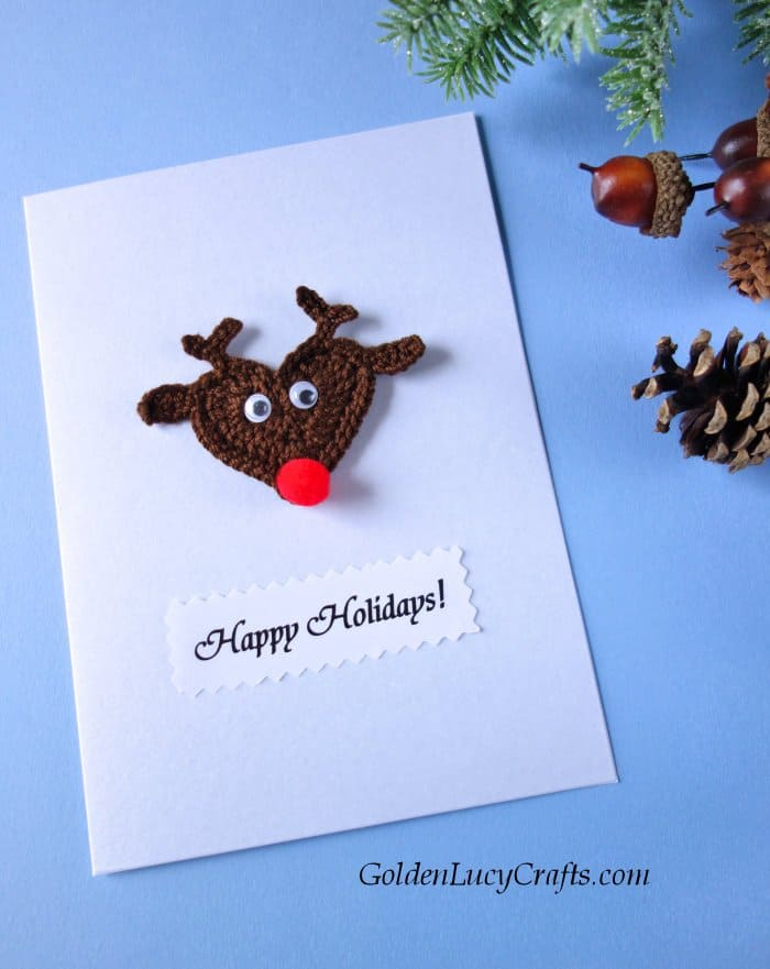 Handmade Christmas card, embellished with crochet appliques, reindeer card