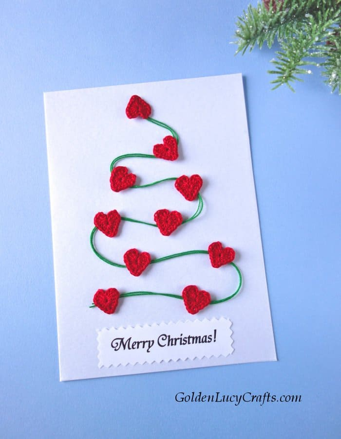 DIY Christmas card ideas, handmade cards embellished with crochet appliques