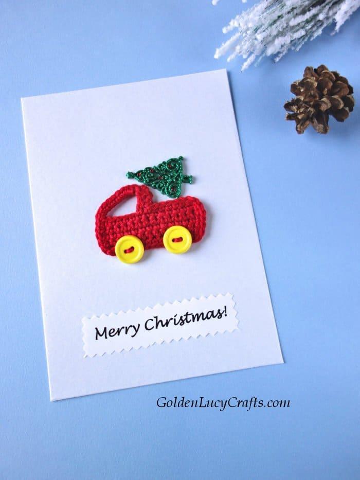 Handmade Christmas card, vintage truck, Christmas truck, red truck, Christmas tree
