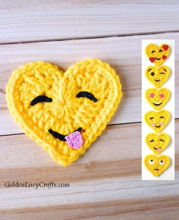 Crochet emoji, face savoring food, free pattern