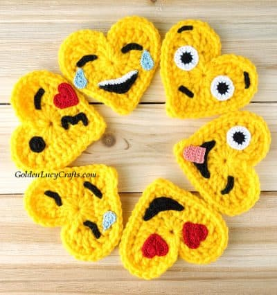 Crochet heart shaped emojis