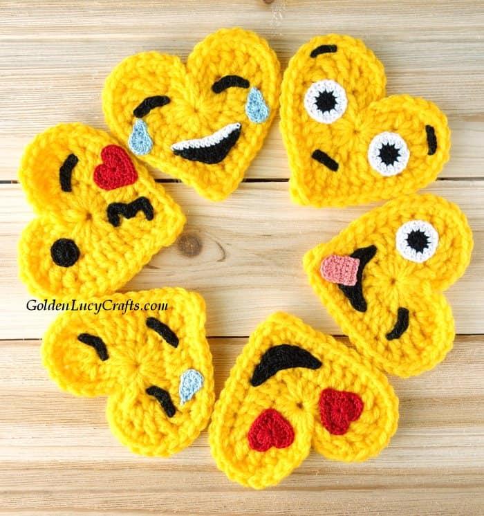 Six crochet heart-shaped emojis.