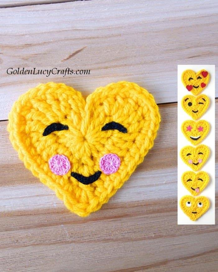 Crochet heart-shaped emoji, happy face emoji, free crochet pattern