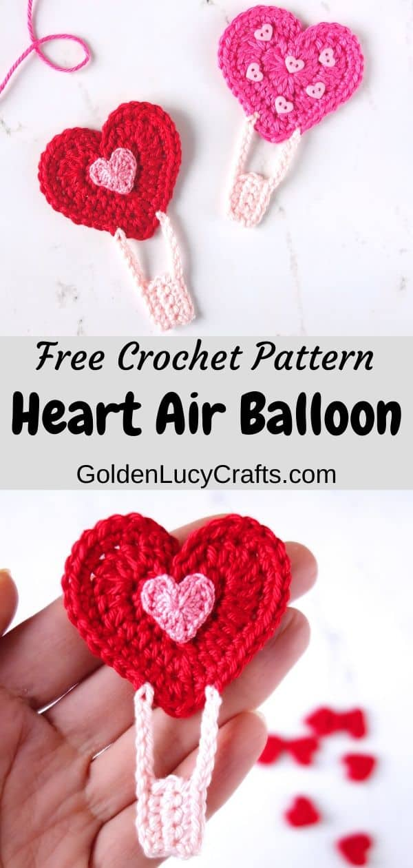 Crochet heart hot air balloon, Valentine's Day applique, crochet Valentine's Day card embellishment