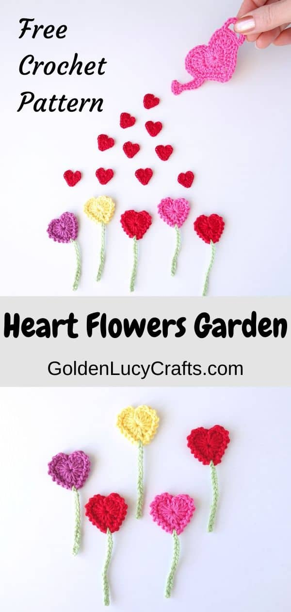 Crochet heart flowers garden applique, Valentine's Day, free pattern