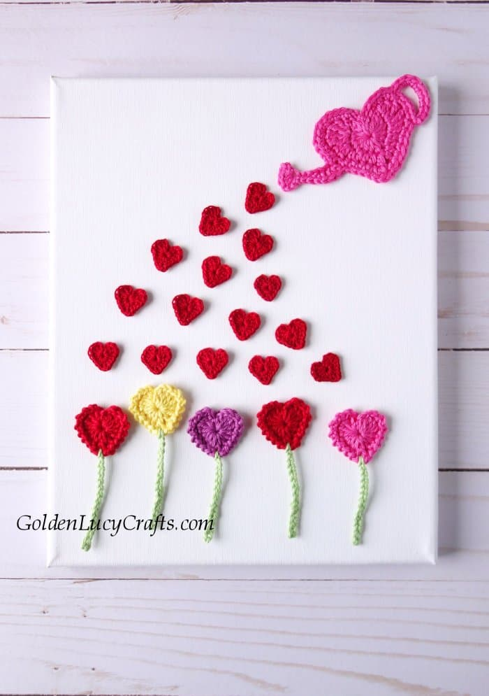 Crochet heart flowers garden applique, wall art
