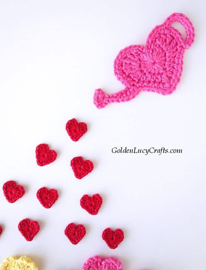 Crochet heart garden