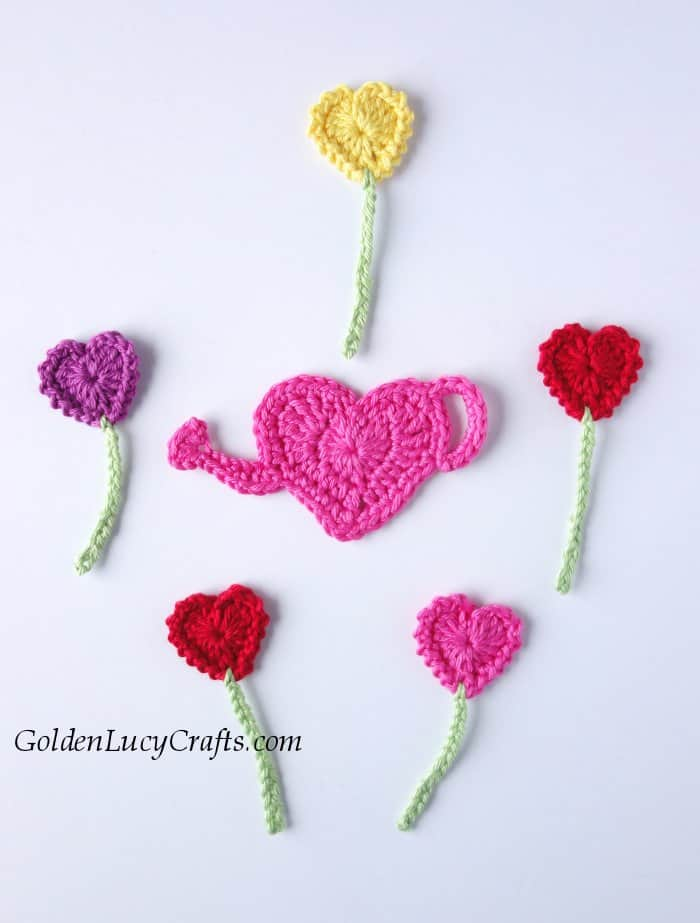 Crochet heart garden applique