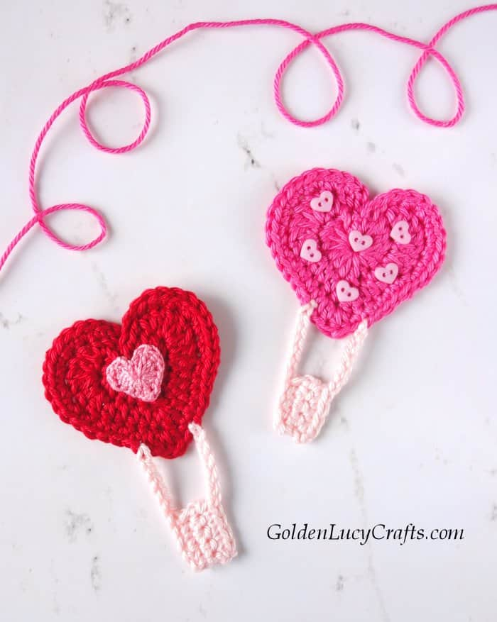 Crochet heart hot air balloon, Valentine's Day applique, Valentine's Day card