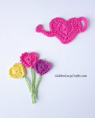 Crochet heart watering can and heart flowers applique