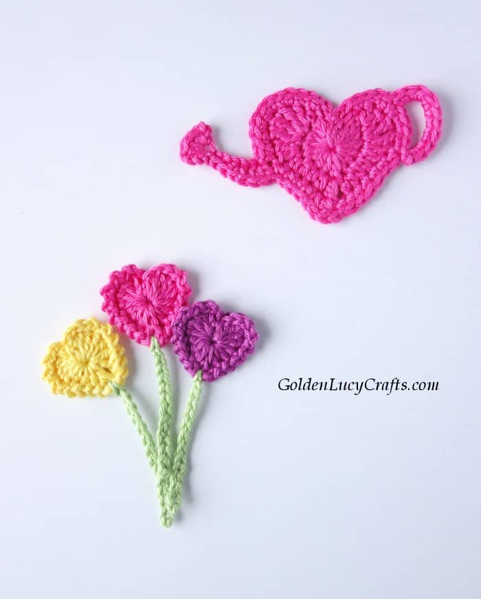 Crochet heart watering can and heart flowers
