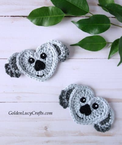 Crochet koala applique, heart-shaped koala, free crochet pattern