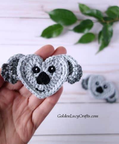 Crochet koala applique, heart-shaped koala, free crochet pattern