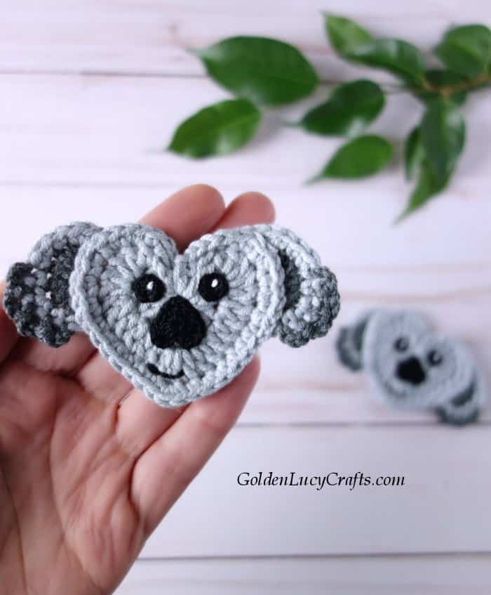 Crochet heart-shaped koala applique