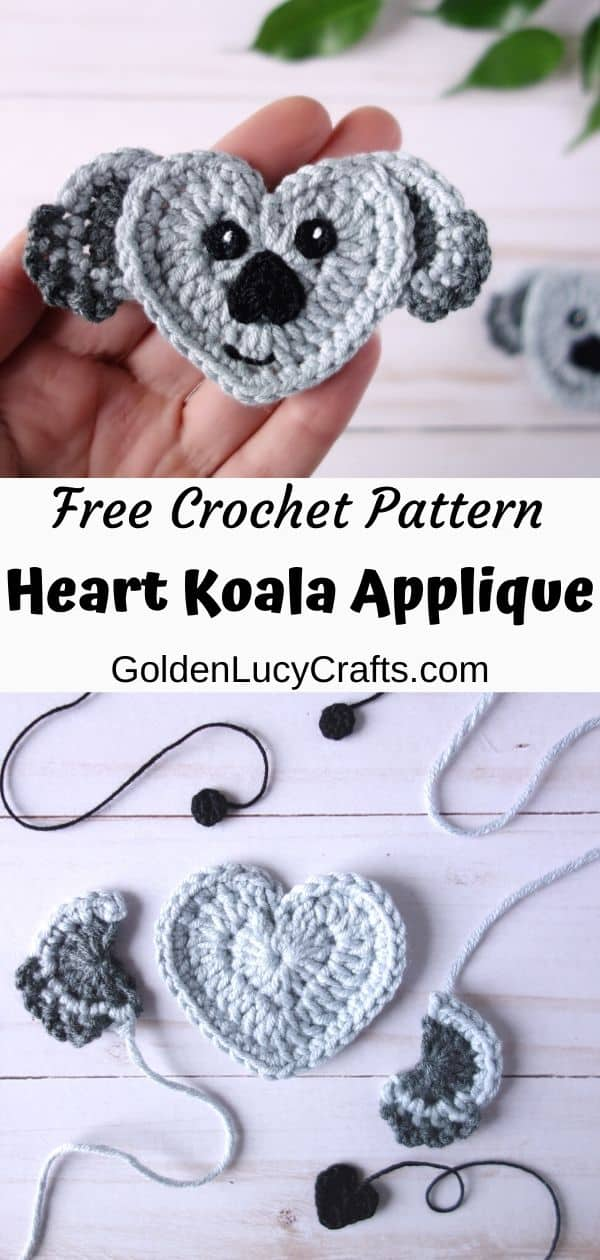 Crochet koala applique, heart-shaped koala, free crochet pattern, how to crochet koala applique