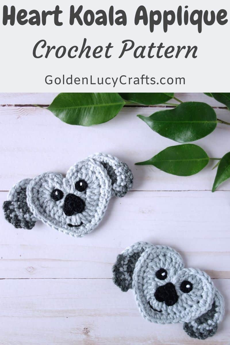 Crochet koala applique made from crocheted hearts