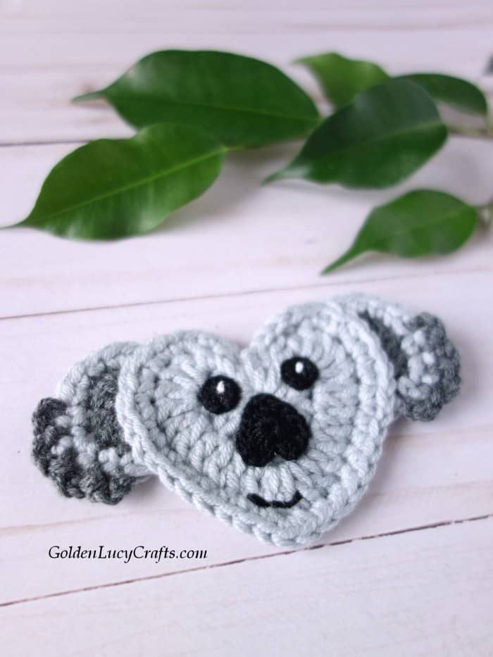 Crochet applique, koala