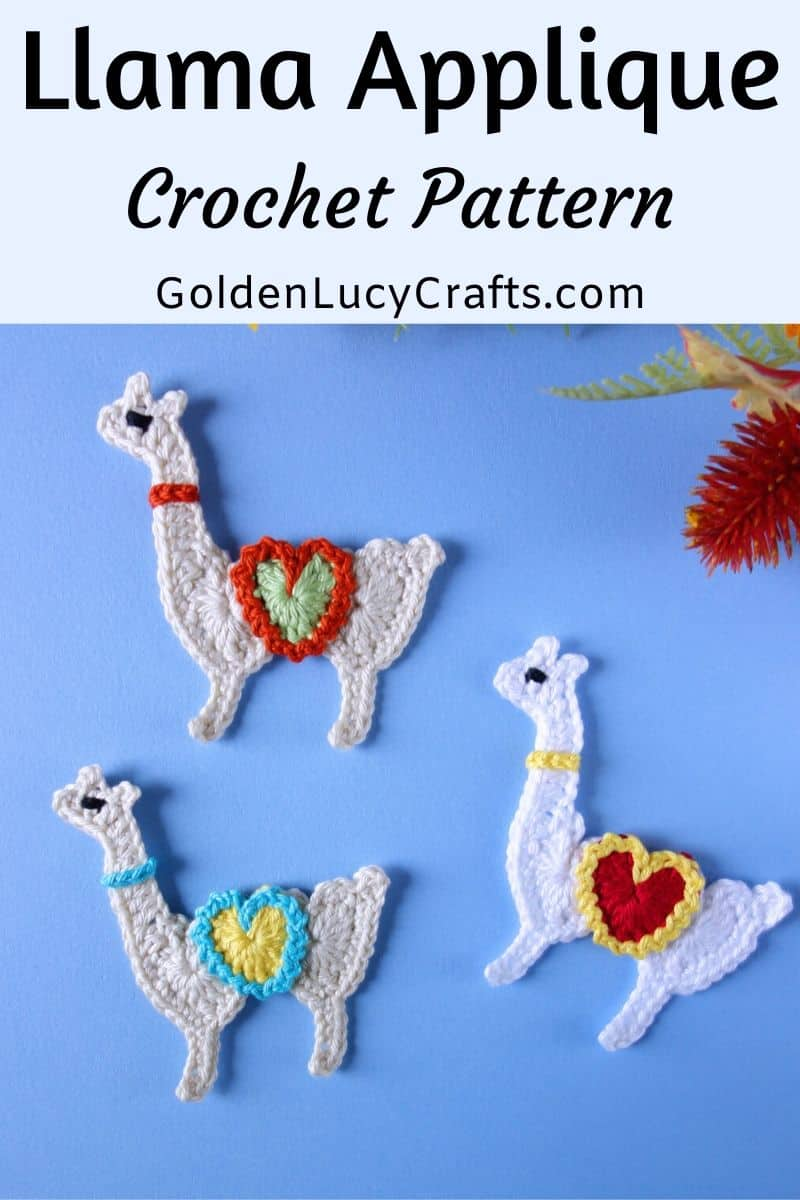 Crochet llama applique, free pattern, made from hearts llama