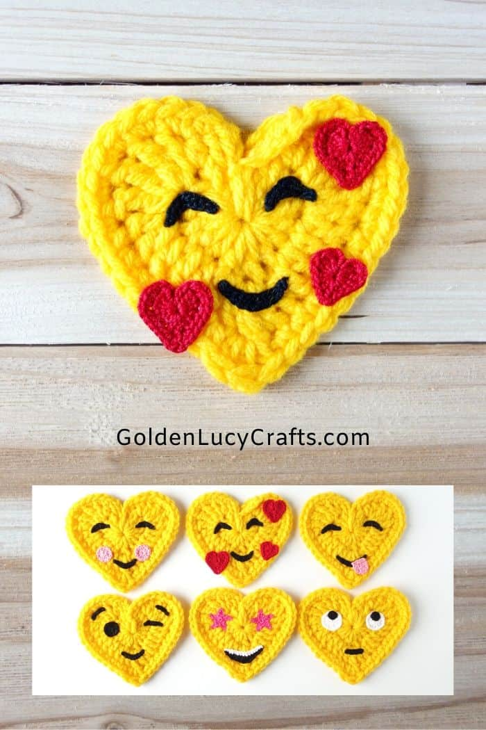 Crochet Emoji, heart shaped Emoji, Smiling Face with Hearts, In Love Face Emoji, crochet applique, Valentine's Day gift, decorations, embellishment