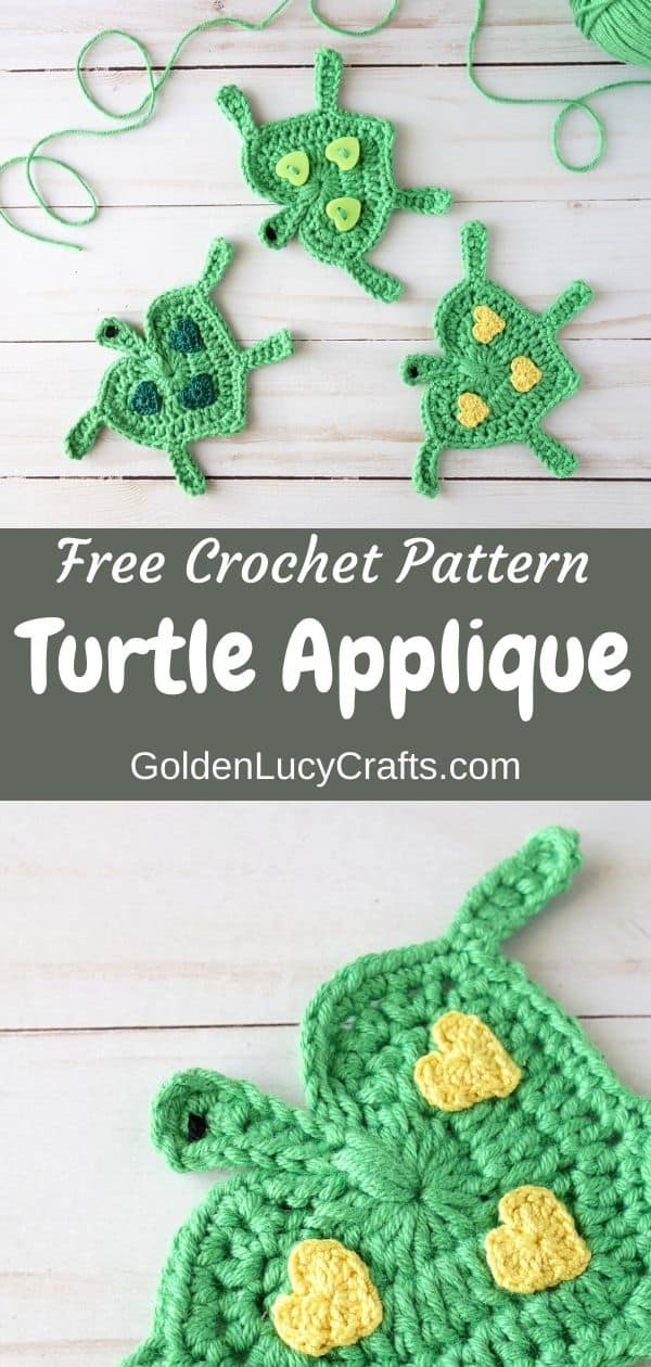 Crochet turtle applique, free crochet pattern, sea turtle