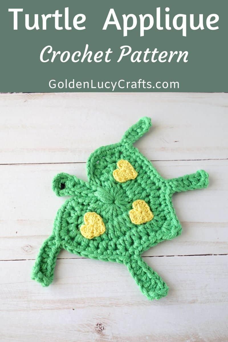 Crochet turtle applique, free crochet pattern, sea turtle