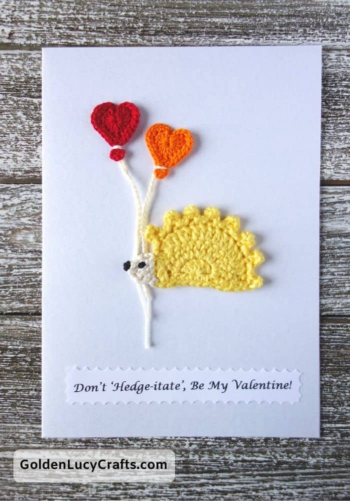 Valentine's Day handmade card, Don't hedgeitate, be my Valentine, DIY Valentines card ideas