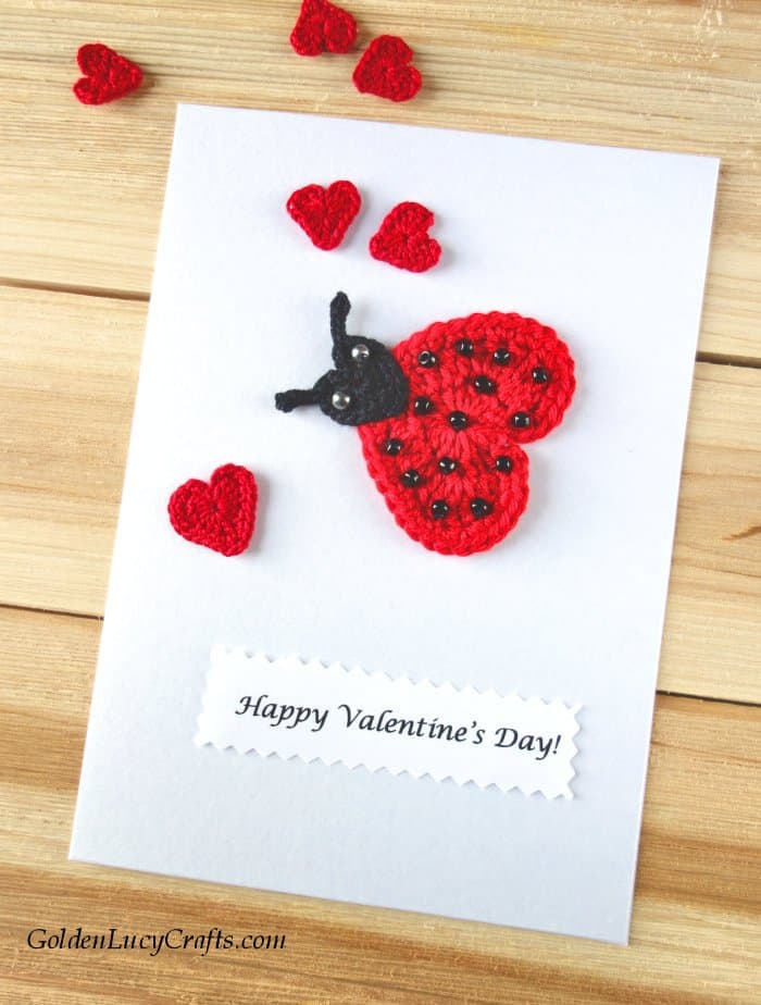 Valentine's Day handmade card, Love bug - Ladybug card, DIY Valentines card ideas