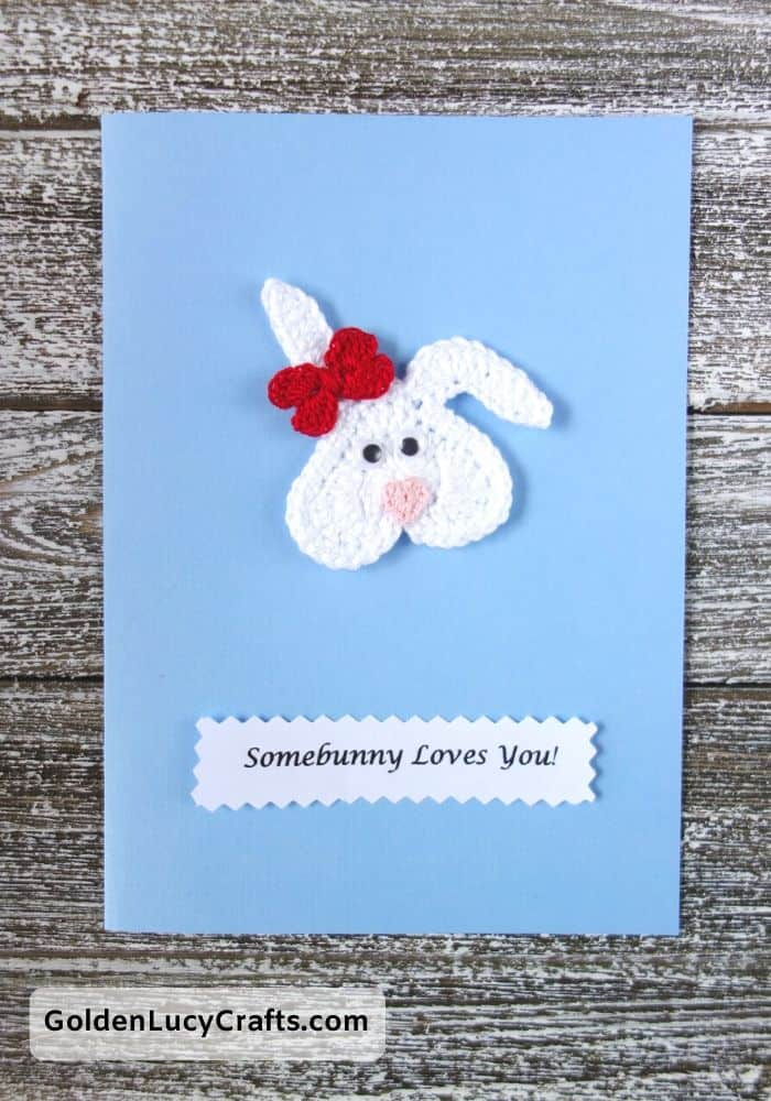 Valentine's Day handmade card, Somebunny loves you, heart bunny, DIY Valentines card ideas