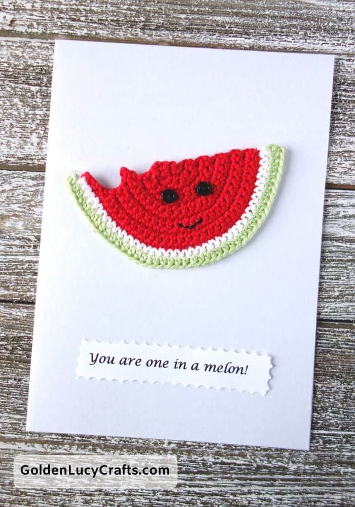 Valentine's Day handmade card, You are one in a melon, DIY Valentines card