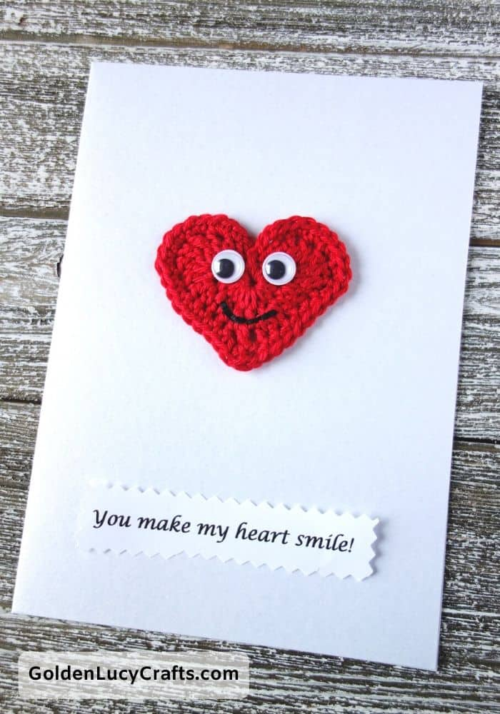 Valentine's Day handmade card, You make my heart smile, DIY Valentines card ideas