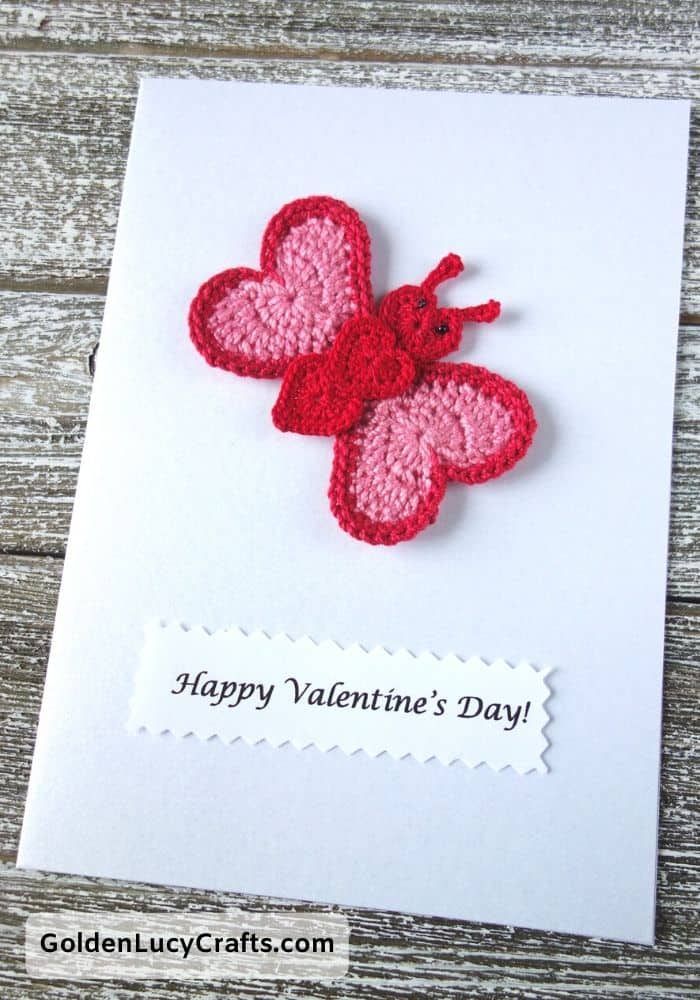 Valentine's Day handmade card, heart butterfly, DIY Valentines card ideas