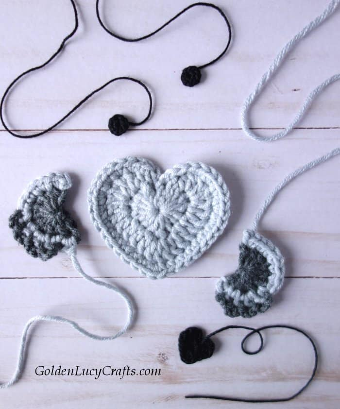 Crochet pieces for heart koala applique