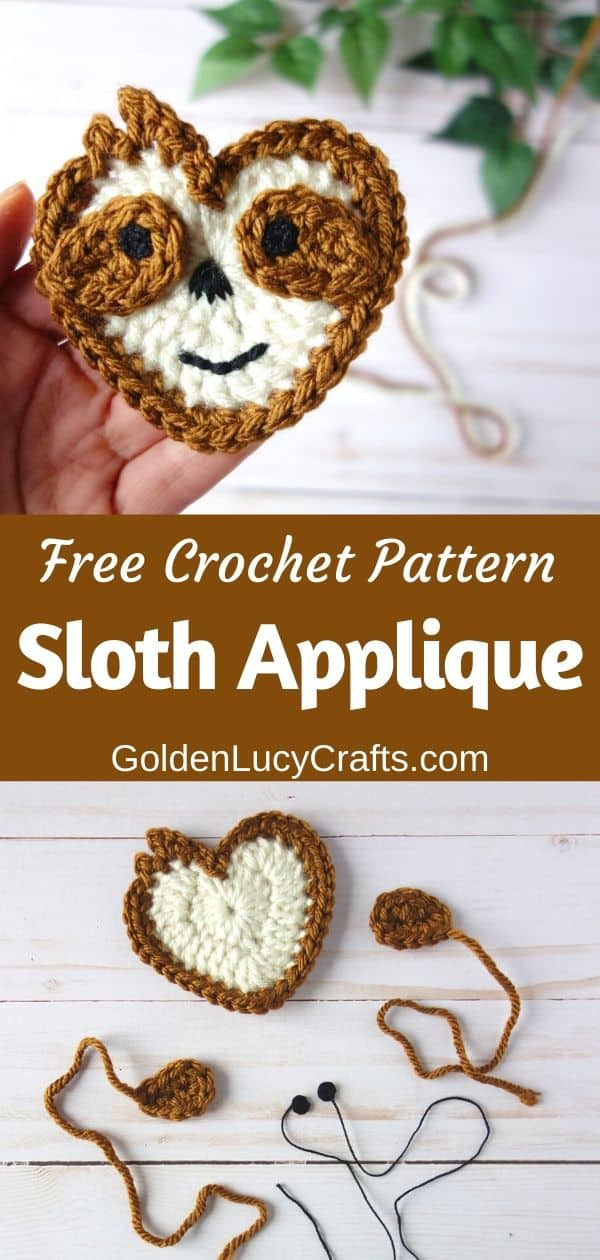 Crochet Sloth applique free crochet pattern, heart-shaped Sloth applique, Valentine's Day Sloth
