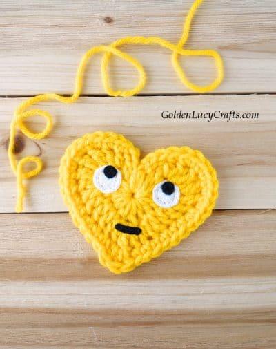 Crochet heart Emoji, Rolling Eyes Emoji, free crochet pattern