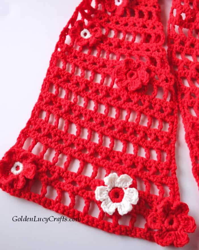 Crochet lace scarf, cotton blend, summer, spring, red scarf