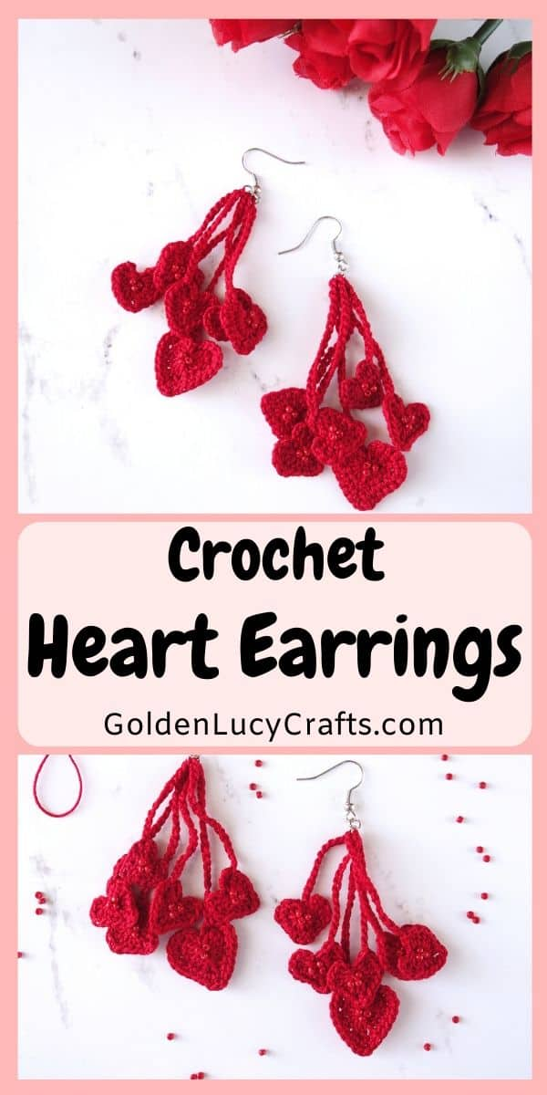 Two pairs of crochet red heart earrings.