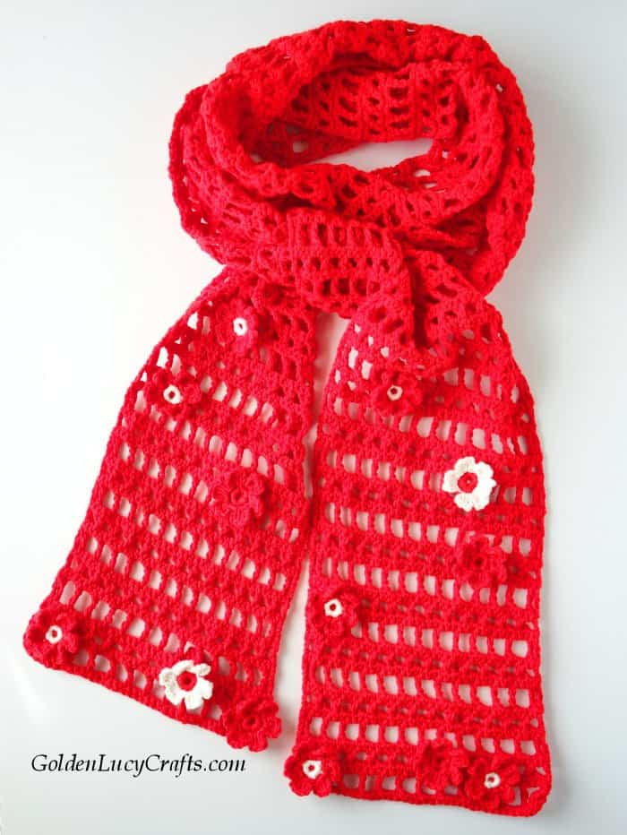 Crochet lacy light scarf, cotton blend yarn, summer, spring, red scarf