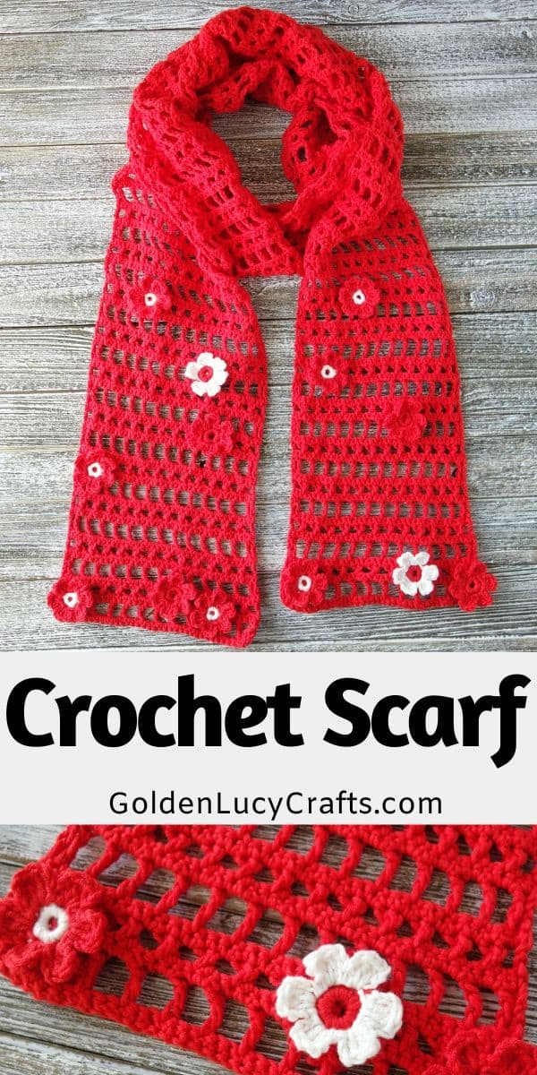 Crochet lace light scarf, free pattern, cotton blend, summer, spring, red scarf