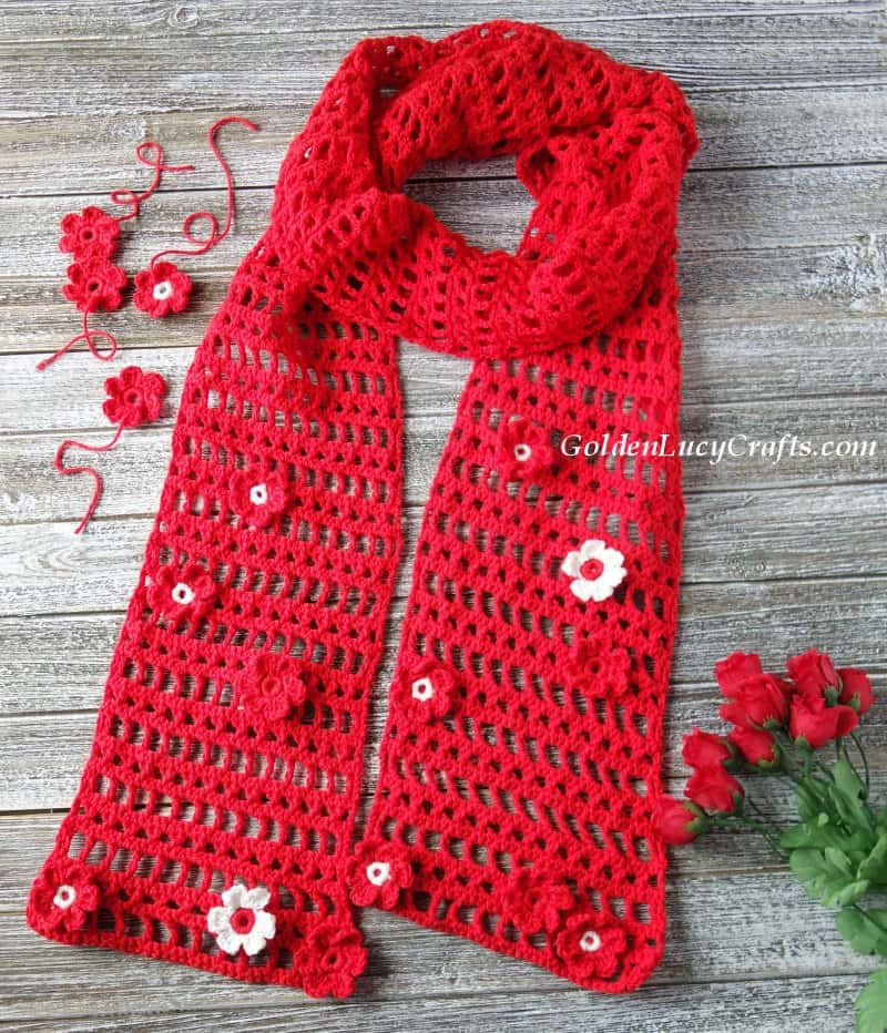 Crochet lace scarf, free crochet pattern, cotton blend, summer, spring, red scarf