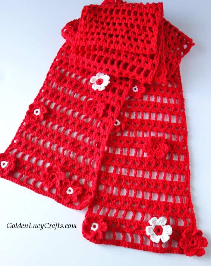 Crochet lace floral scarf, cotton blend, summer, spring, red scarf