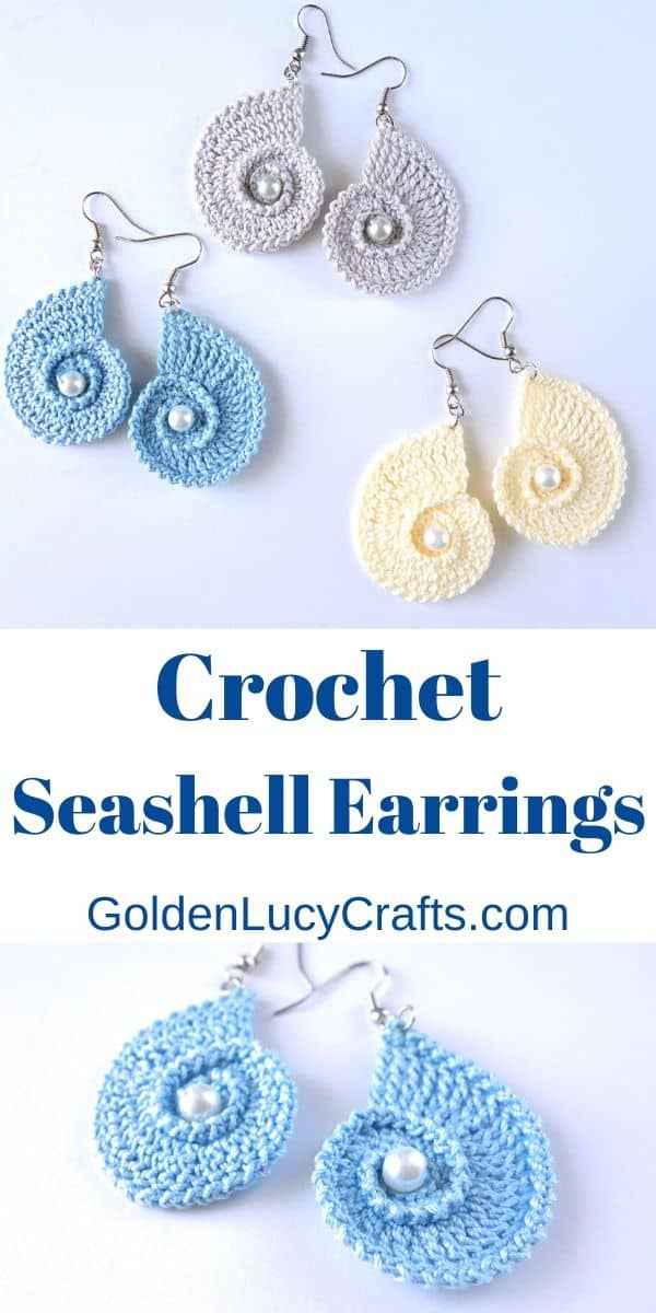 Crochet seashell earrings, crochet pattern, crochet jewelry, DIY earrings