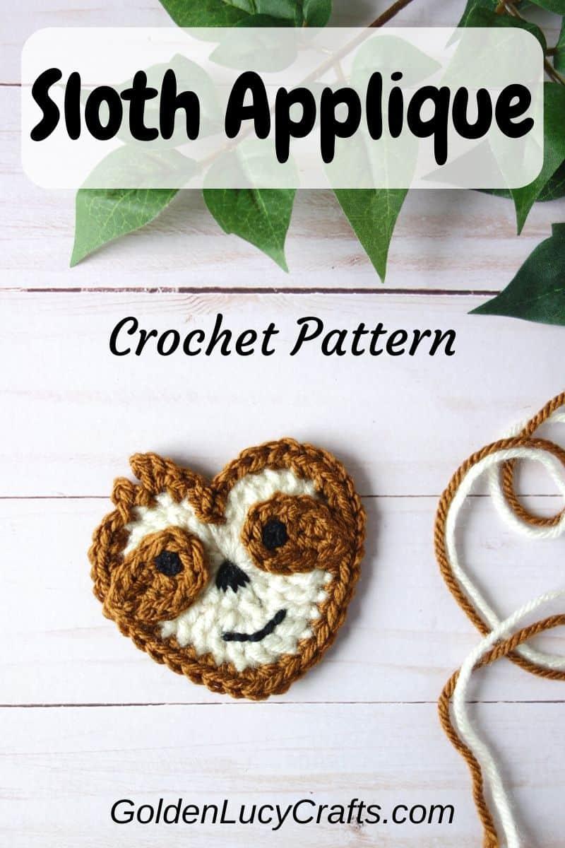 Crochet Sloth, heart-shaped Sloth applique