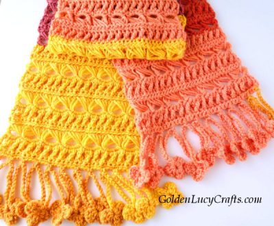 Crochet women's scarf free pattern, Sunset Flame scarf, broomstick lace scarf